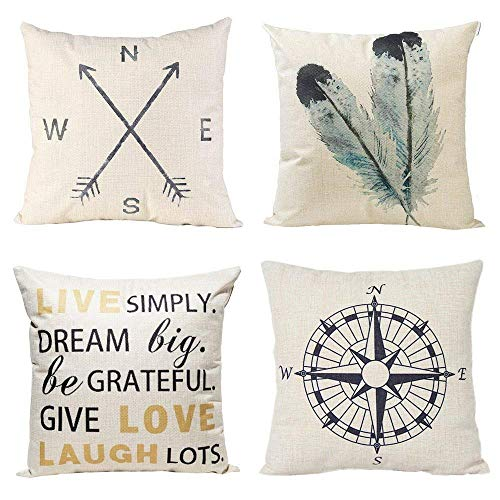 Anickal Decorative Throw Pillow Covers Set of 4 Cotton Linen Cushion Covers 20 x 20 Inch