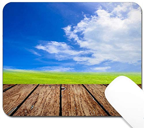 MSD Mouse Pad with Design - Non-Slip Gaming Mouse Pad - Image 25812772 Green Field Under Blue Sky Wood Planks Floor Beauty Nature Background