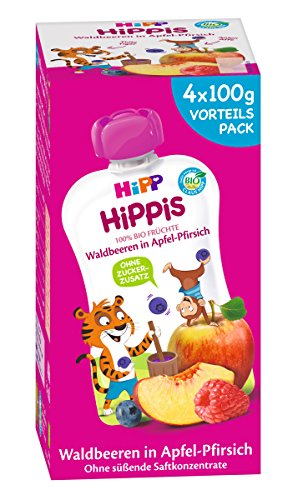 HiPP Waldbeeren in Apfel-Pfirsich - Thilo Tiger, 4er Pack (4 x 100 g) 8537-01
