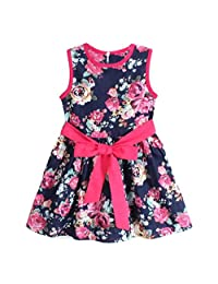 Flank Girls Flower Princess Party Kids Formal Sleeveless Floral Dress (130, Blue)