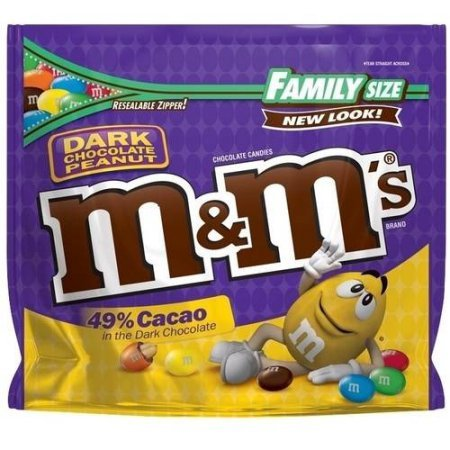 M&M's Family Size Candy, Dark Chocolate, 19.2 Ounce (49% Cacao Dark Chocolate Peanut Candies, 2 Bags)