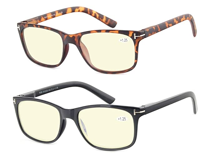 5ba797f8be5 Image Unavailable. Image not available for. Color  Computer Glasses Set of  2 Anti Glare Anti Reflection Stylish Comfortable Spring Hinge Frames for Men