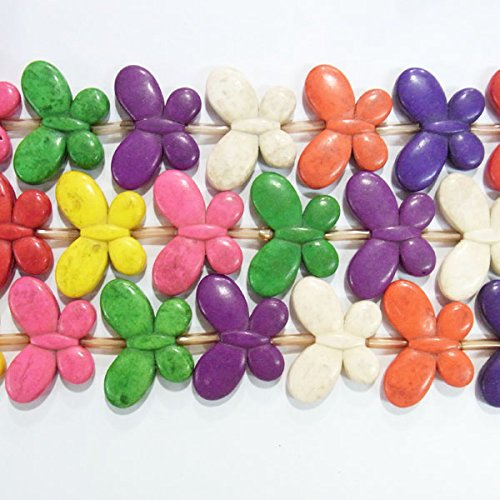 TheTasteJewelry 25x35mm Old Butterfly Magnesite Beads 15 inches 38cm Jewelry Making Necklace Healing - 4493