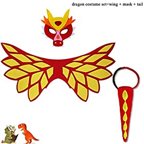 - 51MQ72pCrWL - Flying Childhood Toddler Kids Dragon Wings Costume Mask and Bracelets for Boys Girls Dinosaur Dress Up Party Gifts