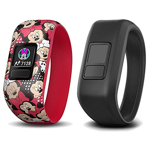 Garmin vivofit jr. 2 Activity Tracker - Disney Minnie Mouse Stretchy Band w/ Extra Black Band