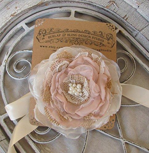 burlap wedding corsage fabric flowercorsage wrist corsage bridal accessory rustic flower corsage