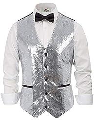Men's Sequin Slim Fit V-Neck Waistcoat