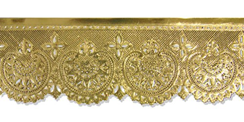 Hearts Border Trim - Kunze Dresden Trim Border Scalloped Hearts and Blossoms Strip, 3-Inch, Gold