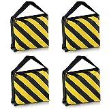 PhotoTrust 4Pack Yellow Heavy Duty Sandbag Sand Bag Saddlebag Weight Bags Saddle Bag Holds 20 LBS for PHOTO VIDEO STUDIO STAND