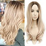 HANNE Ombre Color Long Wavy Wig Heat Resistant Synthetic Hair Wigs for Women (Ash Blonde)