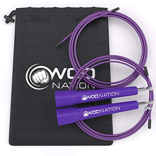 WOD Nation Speed Jump Rope - Blazing Fast Rope for Endurance training for Sports like Boxing, MMA, Martial Arts or Just Staying Fit - Fully Adjustable to Fit Men, Women and Children - PURPLE (Best Jump Rope For Crossfit Double Unders)