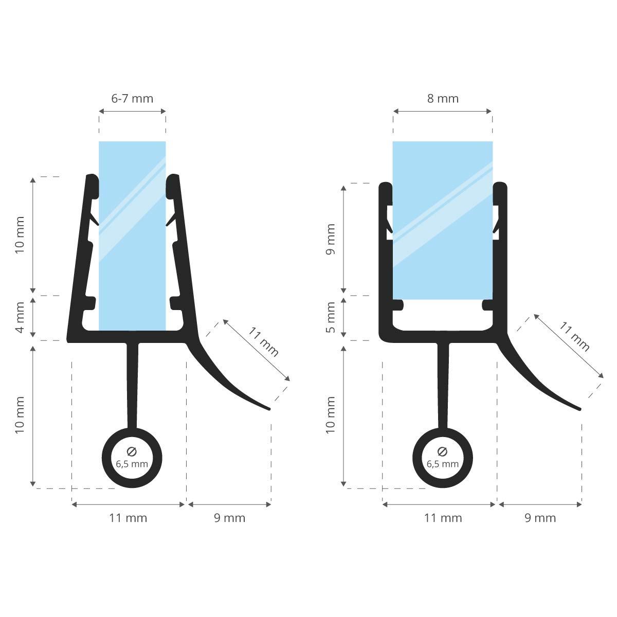 STEIGNER Junta de Ducha Curvada 40 cm UK08 Ducha Redonda Cabina de Ducha Semicircular Junta Semicircular Para las Mamparas de 6 mm// 7 mm// 8 mm Junta de Repuesto Semicircular