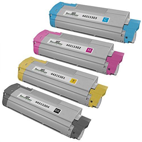 Speedy Inks - Okidata C610 Set of 4 Laser Cartridges: 44315304 Black, 44315303 Cyan, 44315302 Magenta, 44315301 Yellow for use in Oki C610cdn, Oki C610dn, Oki C610dtn, & Oki C610n
