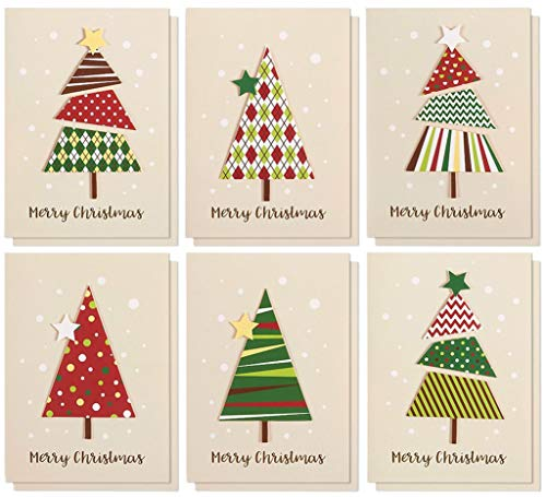Set of 12 Merry Christmas Greetings Cards - Handmade Christmas Cards with Assorted Xmas Tree Themes - Includes White V-Flap Envelopes, 5 x 7 Inches (Christmas Cards Elegant Handmade)