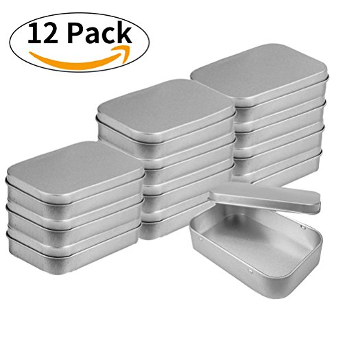 vorey 12 Pack Silver Metal Rectangular Empty Tins Box Containers Mini Portable Box Small Storage Kit, Home Organizer,3.7x2.4x0.8 inch - Silver Plated Lid