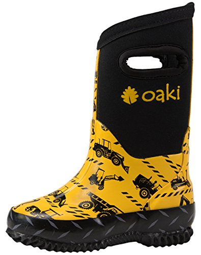 Oakiwear Children's Neoprene Rain Boots, Snow Boots, Muck Boots, Construction Vehicles 12T (Boots Insulated Rain)