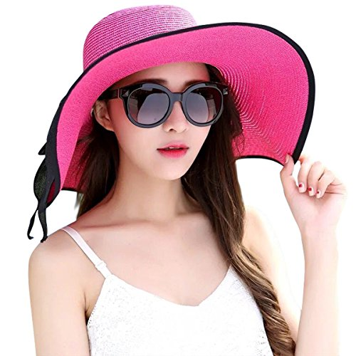 Lanzom Womens Big Bowknot Straw Hat Foldable Roll up Sun Hat Beach Cap UPF 50+ (Rose)