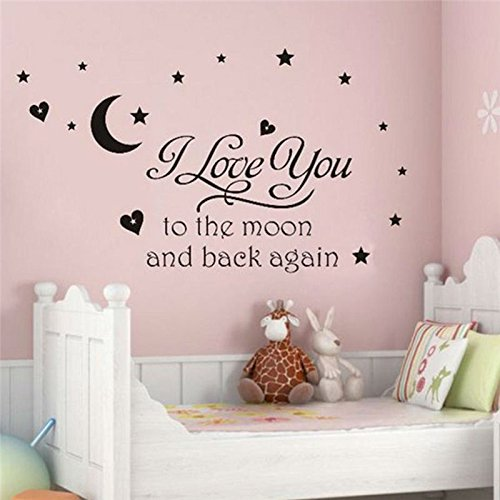 FunnyPicker I Love You To The Moon And Back Again Quotes Wall Decals Decorative Stickers Girls Room Removable Vinyl Home Art