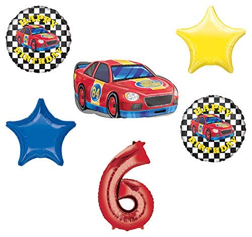 Race Car Theme 6th Birthday Party Supplies Stock Car Balloon Bouquet Decorations