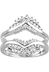 Silver Triple Row Anniversary Ring Guard with CZ (0.52 ct. twt.)