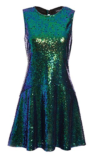 Purple Sequin Dress (Avoir Aime Women's Sequin Halter Drop-Waist Mini Party Dress - Green, S)