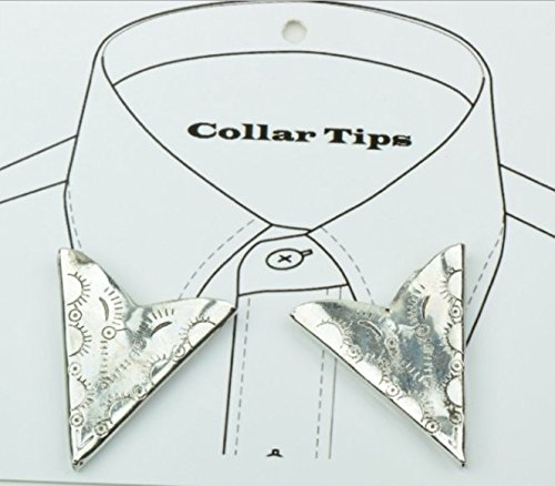 Antiqued Silver Finish Etched Western Collar Tip