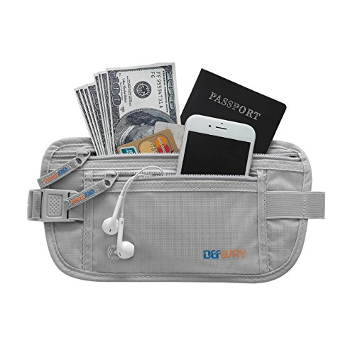 Travel Money Belt Waist Fanny Pack RFID Blocking Passport Holder Pouch for Men