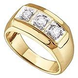 14kt Yellow Gold Mens Round Diamond 3-stone Fashion Band Ring 1/2 Cttw
