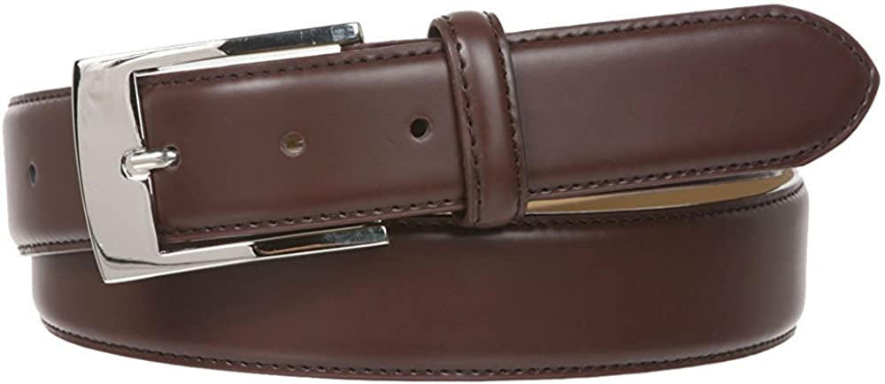 MONIQUE Men Nickel Finish Buckle Stitching Feather Edged Plain Leather 34mm Belt