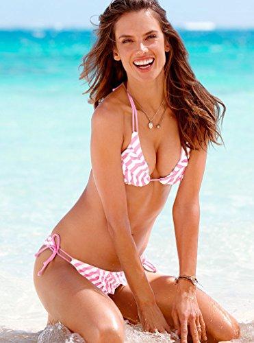 XLHGG Bikini halter de las mujeres, rayas de color del bloque / poliéster vermicelli