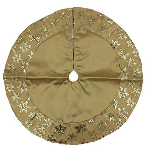 Tiny 20-inch Miniature Satin Tree Skirt with Sequined Snowflake Border for Table Top Trees (Gold) (Gold Christmas Tree Skirt)
