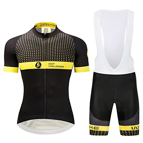 Pro Road Cycling Jersey and Bib Shorts Men Yellow Dots/Strips Italy Sleeve Cuffs Breathable Quick Dry - Pro Cycling Jerseys