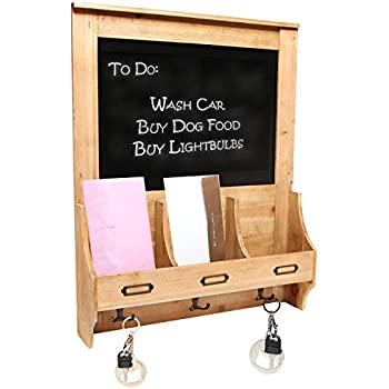 Rustic Light Brown Wood Wall Mounted Mail Sorter Key Hook Organizer Rack w/ Memo Bulletin Chalkboard Sign