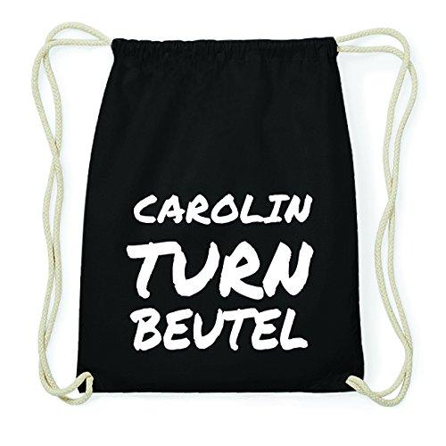 JOllify CAROLIN Hipster Turnbeutel Tasche Rucksack aus Baumwolle - Farbe: schwarz Design: Turnbeutel