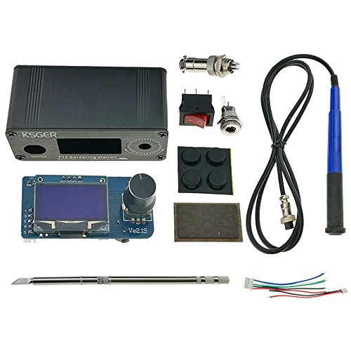 KSGER DIY T12 MINI STM32 V2.1S OLED Soldering Iron Station Tips FX9501 Handle Temperature Controller Welding Tools Sunction Tin Electric T12-K Aluminum Alloy Case GX12-5 Connector