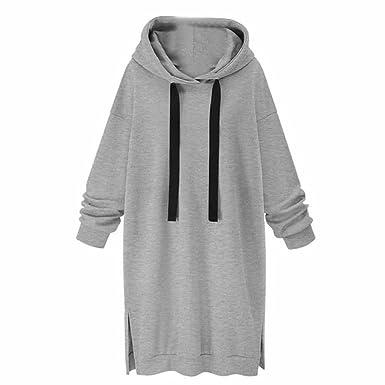 e31d2542805f Kleid damen Kolylong® Frau Herbst Winter Elegant Pullover kleid mit kapuze  Locker Langarm Split Minikleid
