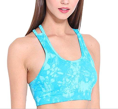 Cruiize Womens Fashion Fintness Printed Summer Crossback Sports Bras cerulean s
