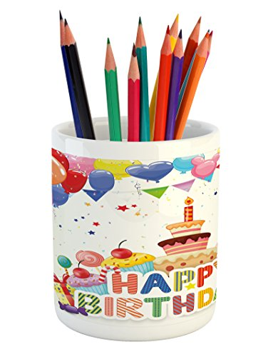 Ambesonne Birthday Pencil Pen Holder, Heart Shaped Funny Bal