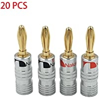 New 20 pcs 24K Gold Nakamichi Speaker banana plug Audio Jack connector