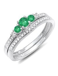 10K White Gold Round Emerald And White Diamond Ladies 5 Stone Bridal Engagement Ring Matching Band Set