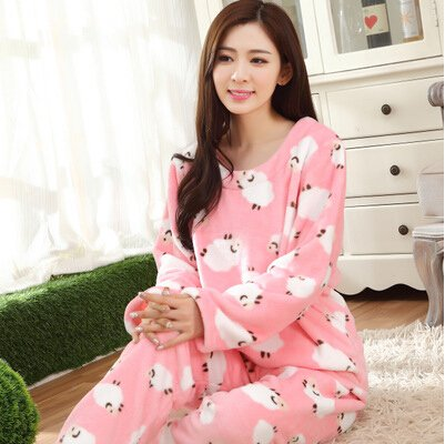 Image Unavailable. Image not available for. Color  MH-RITA Autumn Winter  Flannel Pajamas Thickening Women Sleepwear Female Coral Fleece Cartoon Pajama  Sets f7c55303c