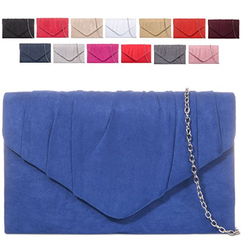 Purse Envelope Evening Suede Cocktail Faux Women's KW308 Ladies Handbag Clutch Navy Bag Bag vwRq1xOSZ
