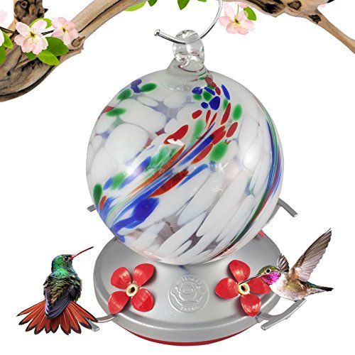 Grateful Gnome - Hummingbird Feeder - Hand Blown Glass - White Globe with Color Swirl - 24 Fluid Ounces …