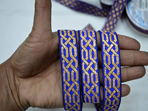Embellishments Sewing Crafting Ribbon Christmas Supplies Weaving Costume Fancy Geometrical Pattern Royal Blue Jacquard 0.8 Inch Wide Trim by 9 Yard Decorative Laces