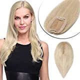 "Remy Top Hairpiece Silk Base Clip In On Hair Topper Human Hair 10"" Platinum Blonde For Women With Thinning Hair Hair Loss Hand Made Silk Top Crown Toupee Hair Piece 100% Density (10"",#60)"