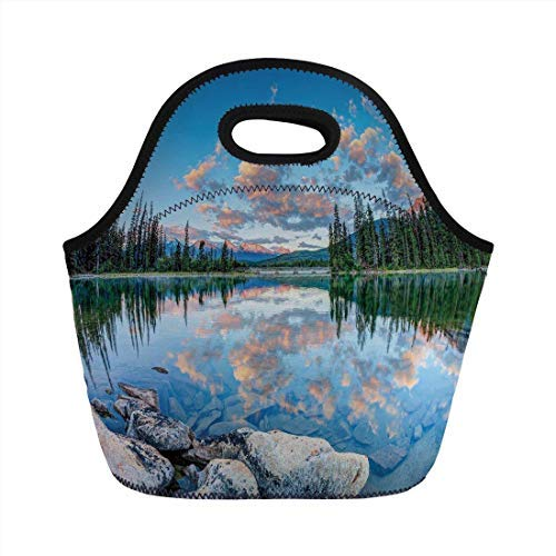 Portable Neoprene Lunch Bag, Nature Decor, Long View of Golden Sunrise Skyline at Pyramid Lake Tranquil Canadian Scenery, Blue Green, for Kids Adult Thermal Insulated Tote Bags