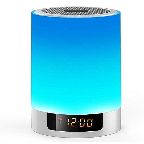 3 en 1 Lámpara LED de Mesa, YZCX Lámpara Táctil con Altavoz Bluetooth, Multicolor Lámparas de Escritorio con Reloj Despertador, Lámparas Mesita de ...