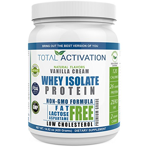 Vanilla Flavored Whey Isolate Protein Powder, 100% Lactose-Free Non-GMO Low Carb Whey Isolate with Stevia for Muscle Nutrition and Natural Weight Loss (High Protein Low Cholesterol)