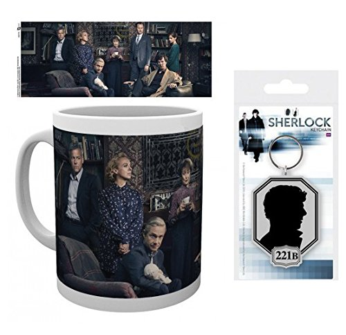 Set: Sherlock, Cast Photo Coffee Mug (4x3 inches) And 1 Sherlock, Keychain Keyring For Fans (2x2 inches)