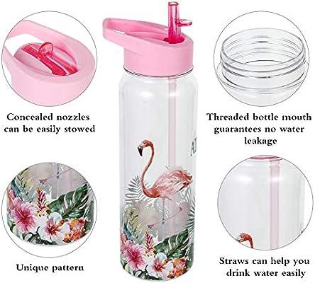 Botella de agua con marcador de tiempo de 720 ml sin BPA a prueba de fugas No Time Marker senderismo Flamingo para cyling de la marca Olyee para ni/ños